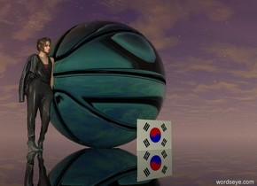 reflective turquoise glass basketball. it is sunset. the ground is transparent. a very tiny woman is to the left of the basketball. a miniature south korean flag is in front of the ball.