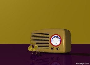 The silver lizard is in front of the radio. The ground is purple. The sky is gold.