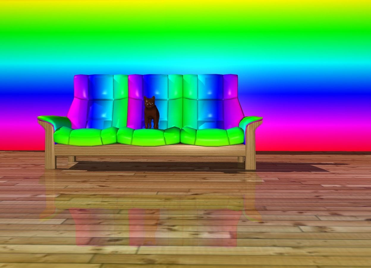Input text: The cat is on a couch. The couch is Rainbow. There is a wood ground. There is a rainbow wall 4 feet behind the couch.