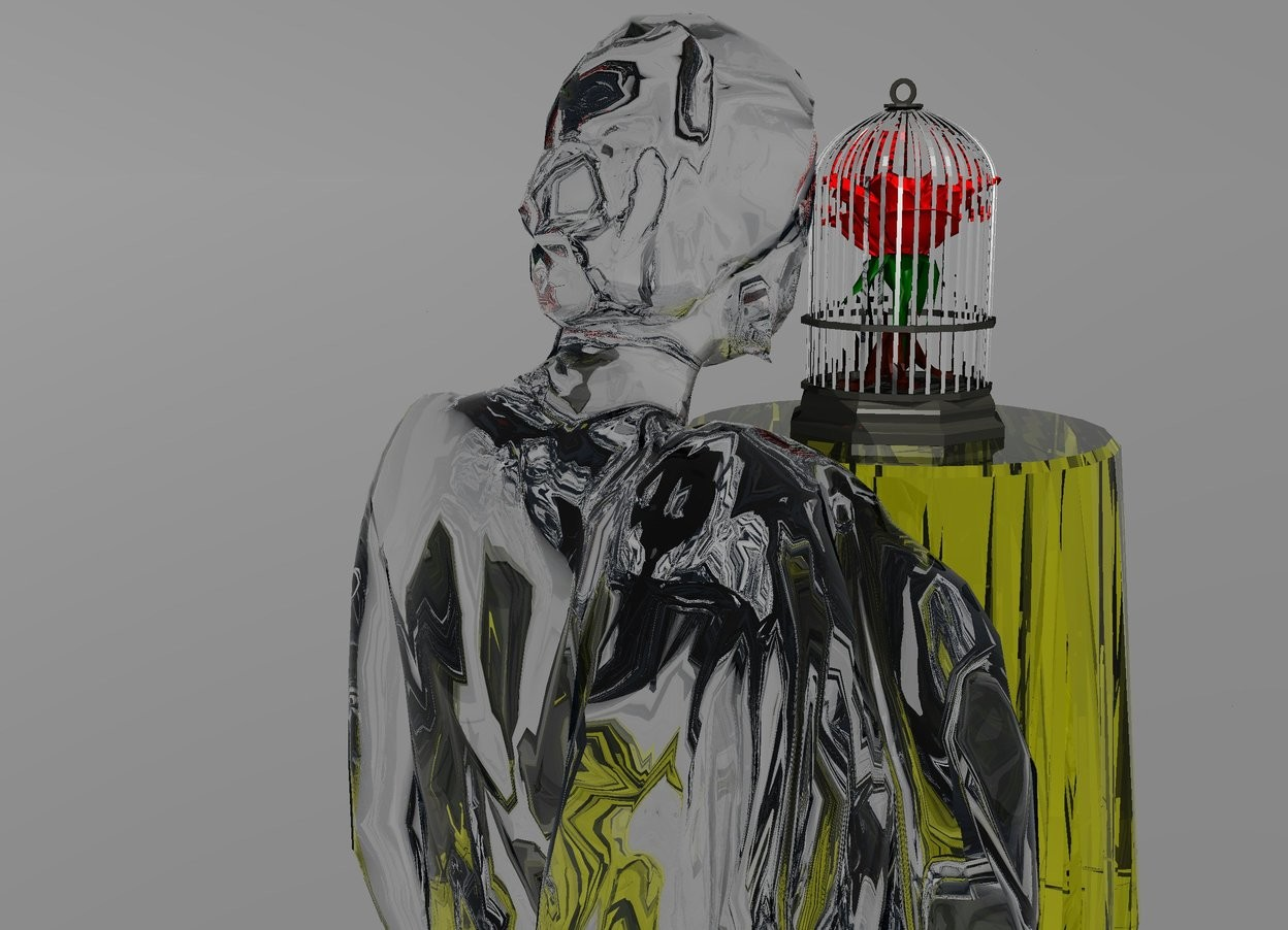 Input text: A flower fits inside a silver cage. the silver cage is on a transparent yellow table. a large transparent woman is behind the transparent table. the transparent woman is 6.5 feet in the ground. sky is grey. ground is silver. there is a huge red light on the cage. there is a 2nd huge light on the woman. there is a huge light behind the woman. the light is facing the woman.