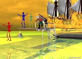 a 10 feet tall diving board.a first green skeleton is on the diving board.a pirate is 4 feet behind the skeleton.the ground is water.a second blue skeleton is 2 feet in front of the first skeleton.a galleon is 1 feet behind the diving board.the galleon is facing left.the diving board is 6 inches in the ground.a third red skeleton is 5 feet in front of the second skeleton.the third skeleton is 2 feet above the ground.the ground is shiny.a 10 feet tall shark is 10 feet left of the galleon.the shark is 4 feet in the ground.the shark is facing the red skeleton.a yellow light is above the galleon.the sun is orange.the galleon is reflective.