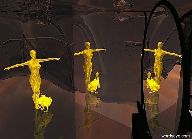 Input text:  a mirror. the mirror is 105 inch tall and 105 inch wide. a 1st 60 inch tall gold woman is facing the east. the mirror is facing northeast.the 1st woman is facing the mirror. a 2nd 4 inch tall gold dodo is 10 inch above the ground and -11 inch to the right of the 1st gold dodo. the 2nd dodo is facing north.a 4th 5.5 inch tall gold dodo is 14 inch above the ground and -6.5 inch to the right of the 1st dodo. the ground is clear. it is noon. behind the mirror is a  silver wall.the wall is 50 feet tall.the sun is old gold.the camera light is white.the ambient light is gold.