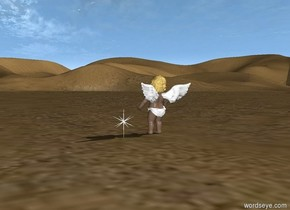 A lonely soul seeks a rest in a desert.