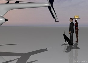 There is a man. A dog is next to the man. A wine bottle is on the dog. There is a woman next to the man. There is a hat on the woman. There is a large helicopter in front of the dog.