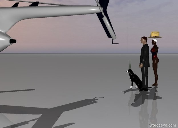 Input text: There is a man. A dog is next to the man. A wine bottle is on the dog. There is a woman next to the man. There is a hat on the woman. There is a large helicopter in front of the dog.