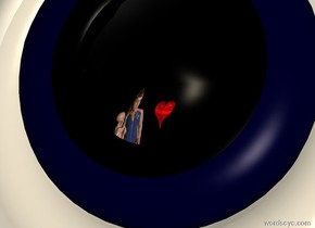 The sky is unreflective black. The ground is unreflective black. A 20 feet long woman is 4 feet in front of and -30 feet above and 4 feet to the left of an enormous silver mirror. The woman is facing northeast. The mirror is upside down and 200 yards above the ground. A 5 feet wide dark blue thick unreflective donut is -0.62 feet in front of and -10.3 feet above the mirror. A 4.5 feet wide black thick donut is -0.63 feet in front of and -10 feet above the mirror. A very huge white donut is -1.8 feet in front of and -12.1 feet above the mirror. A bright white light is 1 foot behind the mirror. A white light is facing the woman. A 5 feet long baby is 4 feet in front of and -17 feet above and 8 feet to the left of the mirror. A huge red heart is 14 feet in front of and -22 feet above and -2 feet to the left of the mirror. Camera light is cream.