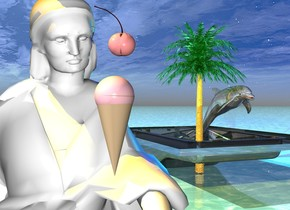 The ground is shiny water. There is a white woman. a pastel cherry is 5 feet above the ground. the cherry is .1 inch in front of the woman. a small tan cone is 3 inch below the cherry. the cone is upside-down. a very small pink sphere is in the cone. a small shiny pool is 5 feet to the right of and 8 feet behind the woman. A very small shiny palm tree is in the pool. a black light is 1 inch to the left of the woman. a first large dark translucent sphere is .5 foot above and 1 inch to the left of the woman. the orange light is above the dark translucent sphere. the  orange light is to the left of the woman. a 2nd dark translucent sphere is to the left of the woman. the 2nd sphere is 4.8 feet above the ground. a third brown translucent sphere is 1 inch above the woman. the orange light is above the brown sphere. the tan light is behind the woman. a 4th dark translucent sphere is 1 inch to the left of the woman. the 4th sphere is 4.5 feet above the ground. a shiny dolphin is 1 inch to the right of the palm tree. the dolphin is 2 foot above the ground.  the cyan light is above the dolphin. the blue light is above the palm tree.