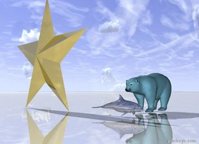 the golden dolphin is 2 inches in front of the big sky blue Polar bear. dolphin is facing right. the ground is shiny. the enormous golden star symbol is 2 feet to the left of the dolphin.