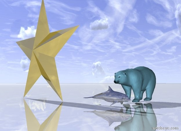 Input text: the golden dolphin is 2 inches in front of the big sky blue Polar bear. dolphin is facing right. the ground is shiny. the enormous golden star symbol is 2 feet to the left of the dolphin.