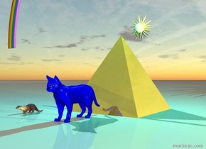 the enormous shiny golden pyramid  is behind the huge blue house cat. the big brown Otter is six feet to the left of the  house cat . The cyan light is two feet above the pyramid. The yellow light is two feet above the jellyfish. sun symbol is behind the pyramid. sun symbol is 10 feet to the left of ground.  over the rainbow on  pyramid.