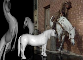 a horse.behind the horse is a 1st [cat] wall.the 1st wall is 15 feet wide and 13 feet tall.left of the horse is a 2nd [cat2] wall.the 2nd [cat2] wall is facing right.the 2nd wall is left of the 1st wall.the 2nd wall is 16 feet wide and 13 feet tall.the horse is facing the 1st wall.the horse is 5.5 feet tall.the ground is clear.the sky is black.