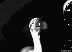 a 5 feet tall 1st [me9] head.  a 5 feet tall 2nd [me6] head is -3.25 feet left of the 1st head.  the sky is [me2]. the sky is 50 feet tall.  the ground is clear. a 1 feet tall dull white dodo is 10 feet behind and -1.6 feet right of the 1st head.  it is facing northwest. a dim white light is behind and -0.5 feet above the dodo.