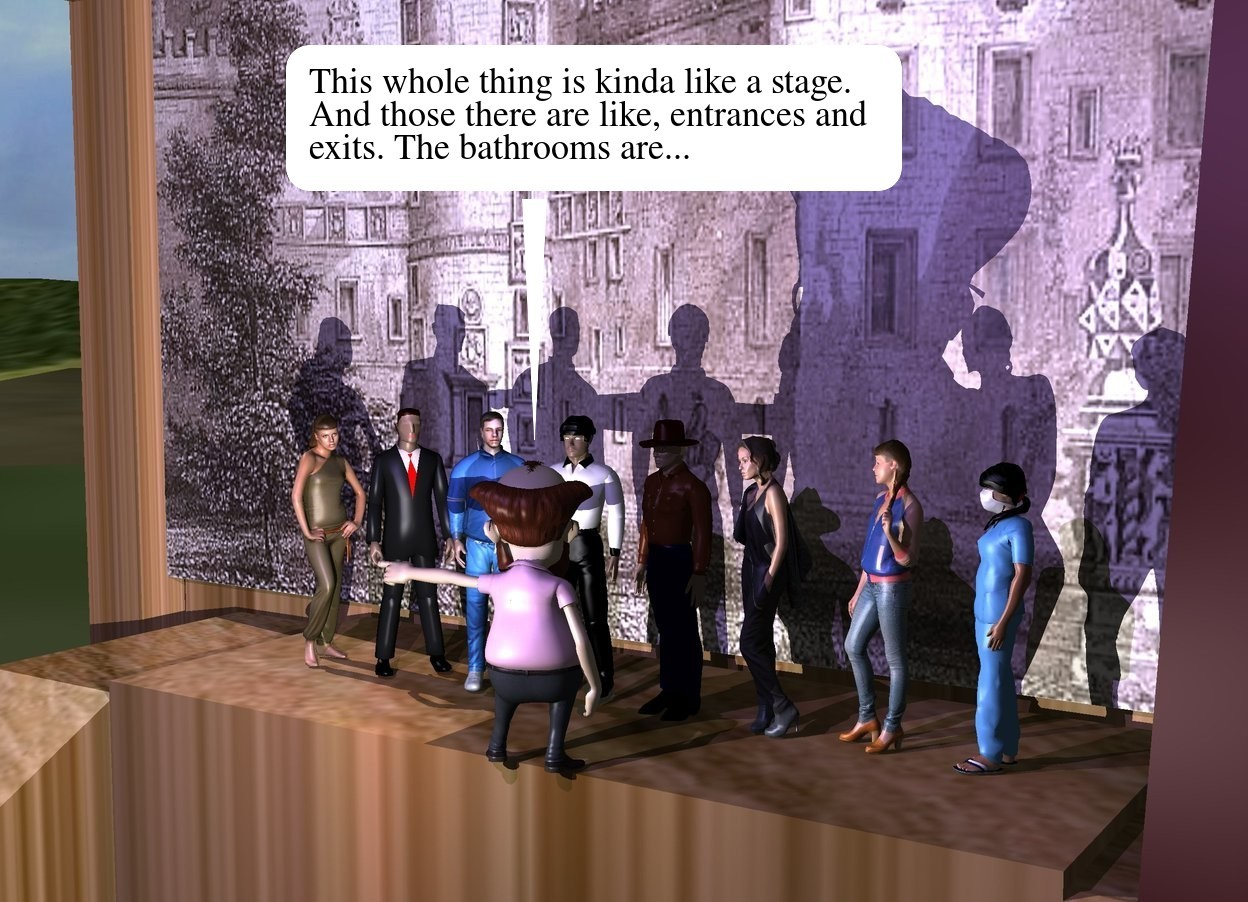 Input text: The 8 tiny people are on the wood stage. the very small man is six inches in front of the people. he is facing backwards. the people are facing the man. the white light is -5 feet above the stage. the [castle] wall is a foot behind the people. it is 10 feet wide. the mauve light is a foot above the man. the tall ground is grass. the curtain of the stage is red.  the camera light is black. the mauve light is 2 feet in front of the man.