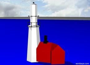 A red and white lighthouse. Sunny sky.  Deep blue sea.