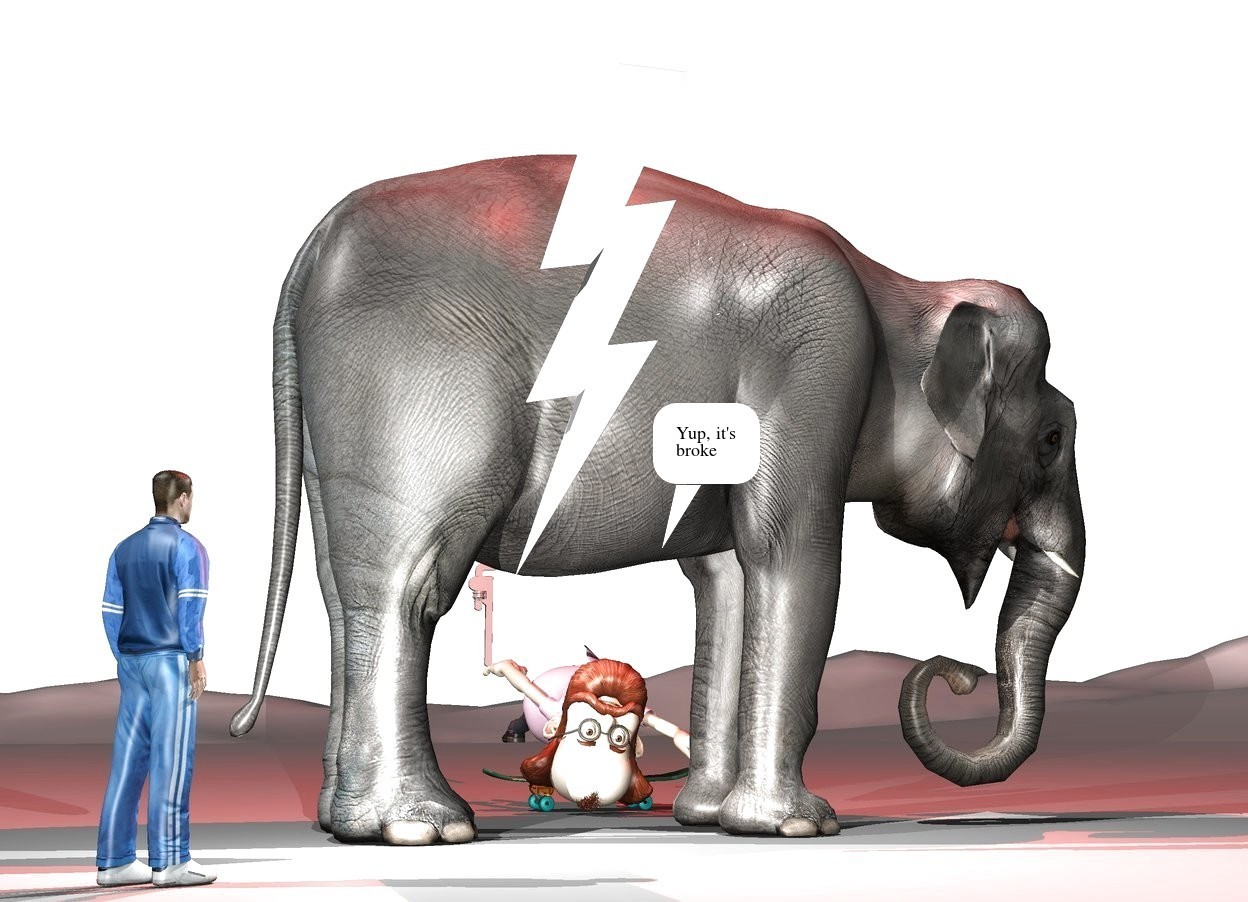 Input text: The sky is white. The elephant is facing right. The Lightning bolt is in front of the elephant. it is 5 feet tall. It is -4 feet to the left of the elephant. It is 2.5 feet above the ground. It is solid white. The white light is 1 foot to the right of the lightning bolt. It is 6 feet above the ground. A second white light is 1 foot to the left of the lightning bolt. It is 1 feet above the ground. The 1st small man is 1 foot in front of the lightning bolt. He is facing the elephant. He is on the ground. He is to the left of the elephant. the skateboard is under the elephant. it is -7 feet in front of the elephant. a 2nd man is -6 inches above the skateboard. he is upside down. the grey wrench is above the 2nd man.it is -11 feet in front of the man. the red light is 5 feet above the elephant.