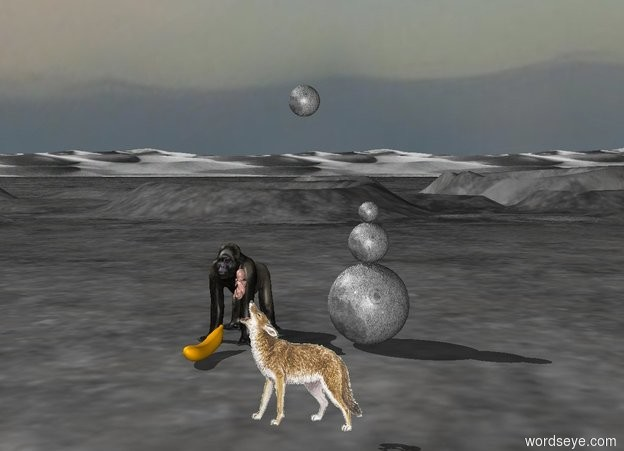 Input text: The wolf is on the moonscape. there is a gorilla 10 feet behind and 3 feet to the left of the wolf. There is a giant banana in front of the gorilla. There is a giant moon 3 feet to the right of the gorilla. There is a large moon on top of the giant moon. there is a moon on top of the large moon. a   full moon is 6 feet above the wolf. a large child is on the top left portion of the wolf.
