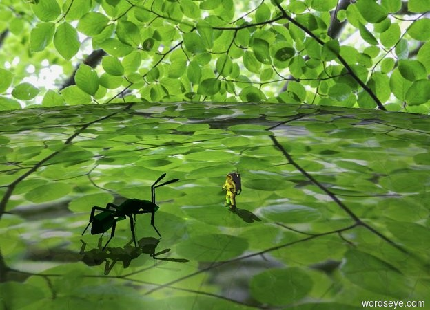 Input text: The ground is [forest]. The sky is [forest]. A 150 feet wide dark green ant facing a 120 foot tall astronaut. The astronaut is facing east. The azimuth of the sun is 210 degrees. A green light is 180 feet to the left of the ant. A yellow light is 40 feet to the left of the ant. Camera light is black.