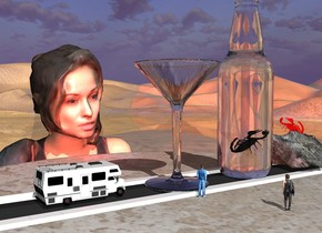 The road is on the [pattern] table. the table is 30 feet wide and 30 feet deep. the road is 30 feet long and 6 feet wide. the enormous glass is on the road.  the red light is 9 feet to the right of the glass.  The rock is 5 feet in front of the glass. the enormous white bottle is 1 foot behind the rock. the large solid red scorpion is -8 inches above the rock. it is facing the bottle. the scorpion is leaning 40 degrees to the back.   the enormous woman is to the right  of the table. she is facing left. she is 46 feet in the ground. the cactus is 3 feet to the right of the woman.  the 2  small trees are 20 feet to the right of and 24 feet behind the woman. they are facing left.  the second large scorpion is 9 foot in the bottle. it is leaning 45 degrees to the back. the ground is shiny. the very tiny motorhome is 1 foot behind the glass. the tiny man is 2 feet to the left of the glass. he is on the table. he is facing the bottle. the tiny woman is 1 foot to the front of and 6 inches to the left of the man. she is facing the bottle.