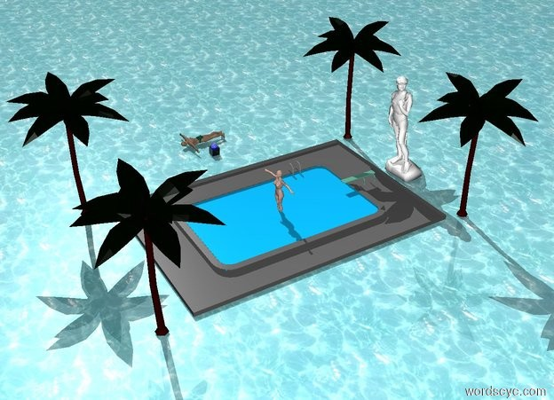 Input text: The sphere fits inside the transparent cube. The sphere is blue and shiny. The cube is black and white. The ground is water. A human is facing down. The human is next to the cube. A pool is 5 feet to the right of the cube. The pool is 4 feet in the ground. A statue is two inches behind the pool. The statue is 2 inches above the ground. The statue is white. A small palm tree is 2 feet to the left of the statue. A small palm tree is 2 feet to the right of the statue. A small palm tree is 2 feet to the left and 28 feet in front of the statue. A small palm tree is 2 feet to the right of and 28 feet in front of the statue. A human is 2 feet in the pool.