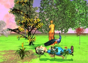 a boy.the boy is facing up.the ground is grass.a statue is 10 feet right of the boy.the statue is facing the boy.a bird is left of the statue.the bird is facing southwest.a clematis is 1 feet behind the statue.a red maple tree is 1 feet in front of the statue.a gardenia is 1 feet left of the boy.a 1.5 feet tall marigold is behind the flower.a flaming sword is behind the marigold.a 1.5 feet tall geranium is in front of the gardenia.there are seven trees 100 feet right of the statue.a lime light is above the trees.the sun is pink..