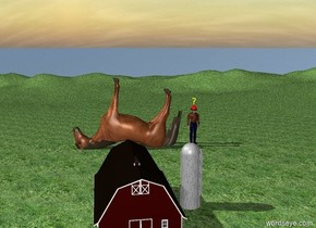 The ground is grass. The small barn is on the ground. The giant horse is 30 feet behind the barn. The horse is facing left. The horse is upside down. The horse is 8 feet inside the ground. The horse is leaning 13 degrees to the back.  The tall man is to the right of  the horse. The man is on the ground. The tall helmet is -9 inches above the man.    The large yellow question mark is 5 inches above the helmet.