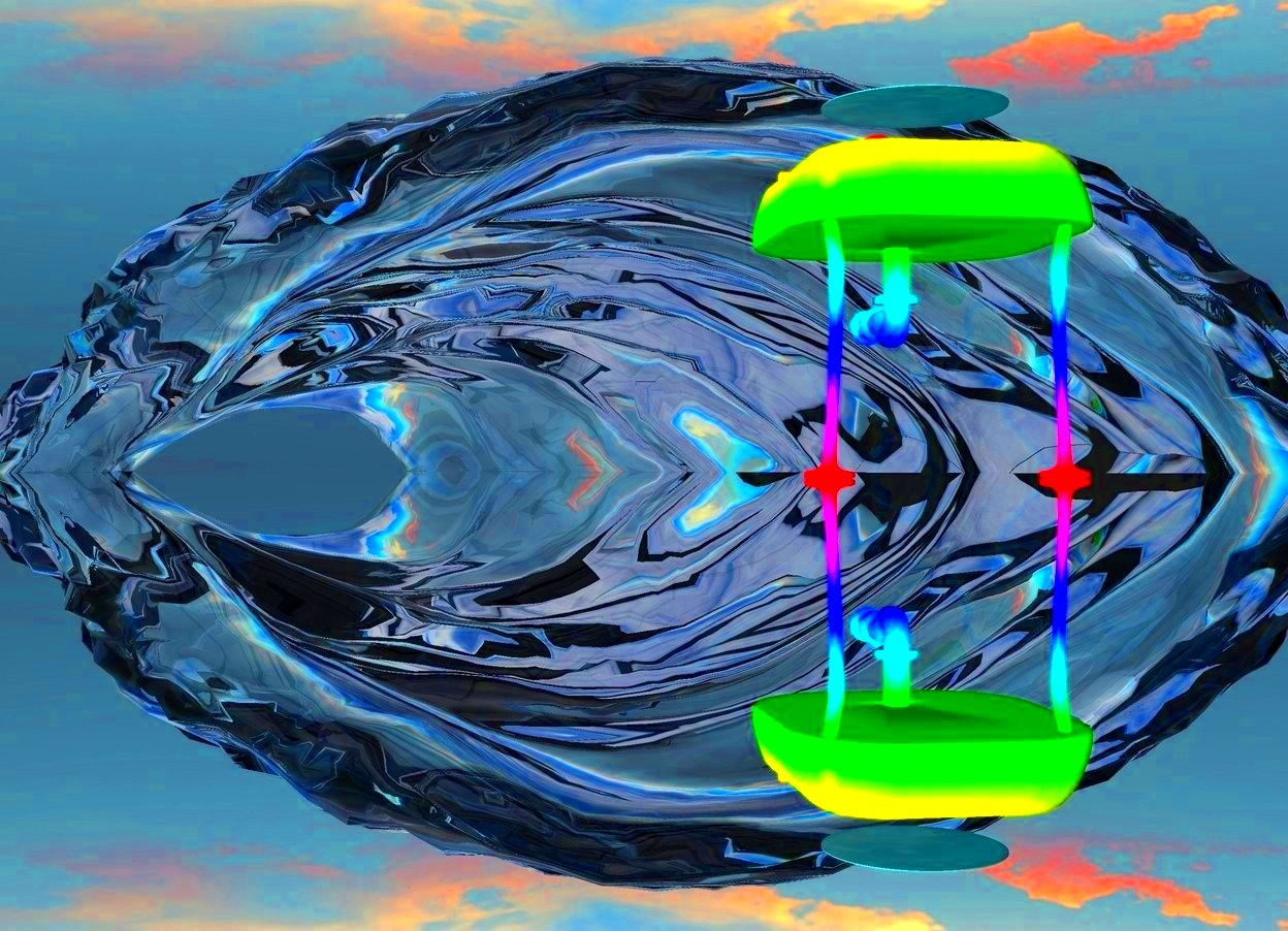 Input text: A rainbow sink. small water is 150 centimeters inside the sink. ground is silver. a huge translucent wave is behind the sink in the ground.