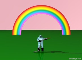 the sky is pink. the ground is green. there is a rainbow. very very large human being under the rainbow. the human is water.