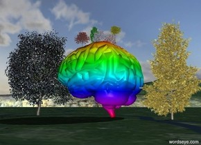 a 20 feet tall brain.a 5 feet tall blue almond tree is -6 inches above the brain.a 5 feet tall apple tree is 6 inches left of the almond tree.the apple tree is pink.the apple tree is -6 inches above the brain.a yellow 5 feet tall tree is 1 feet behind the almond tree.a 5 feet tall red tree is 1 feet in front of the almond tree.a 6 feet tall green tree is behind the red tree.the brain is rainbow.a gold tree is behind the brain.a silver tree is in front of the brain.