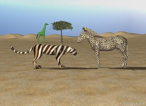 The [leopard] zebra is on the ground. The tall [zebra] leopard is next to the zebra. The leopard is facing the zebra. The zebra is facing the leopard. The ground is sand. The small tree is 100 feet behind the leopard. The [leaf] giraffe is next to the tree. It is facing the tree.