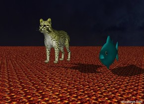 The giant yellow cat 10 feet away from the huge tuna.  The sky is dark.  The ground is lava.