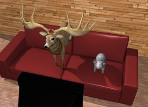 A bear and a deer are on a  large couch. a large tv is 2 feet in front of the couch. the tv is facing the couch. the ground is wood. A large texture wall is 3 feet behind the couch.