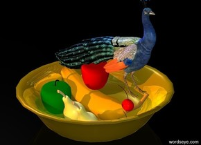 a 30 inch tall bowl.the bowl is gold.a 25 inch tall apple is -6 inch above the bowl.a 27 inch tall banana is -26 inch above the bowl.the sky is black.the ground is clear.in front of the bowl is a old gold light.above the bowl is a old gold light.the banana is facing west.a 29 inch tall pear is in front of the banana.a green 28 inch tall apple is left of the pear.a 15 inch tall cherry is -17 inch right of the banana.a 2nd 15 inch tall cherry is 0.5 inch above the cherry.a 2nd 26 inch tall pear is right of the pear.the camera light is gray.a 60 inch tall peacock is above the bowl.the peacock is facing east.above the peacock is a blue light.the ambient light is gray.