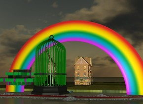 the giraffe fits in the gigantic green birdcage.  the van gogh bathtub is to the right of the birdcage.  the argentina flag river is under the birdcage.  the rainbow is behind the bathtub.  the farm is behind the river.  the rainbow house is on the farm.  it is sunset.  the polka dot house is 3 feet away from the giraffe.  the large coffee is a foot behind the birdcage.