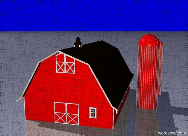 Input text: a blue one leg pig laying on his back. inside a low white fence.blue sky. red barn