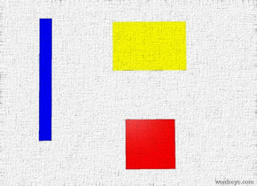 the sky is white.the ground is white.a red square.a yellow square is 2 feet behind the red square.the yellow square is 3 feet long.a 6 inch wide blue square is 3 feet left of the red square.the blue square is 5 feet deep.the blue square is -10 inches behind the red square.