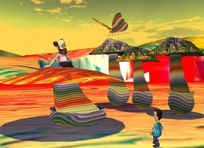 a 30 feet tall rainbow mushroom.a 33 feet tall rainbow mushroom is 1 inches right of the 30 feet tall rainbow mushroom.a 35 feet tall rainbow mushroom is 1 inches left of the 30 feet tall mushroom.a 20 feet tall rainbow mushroom is 20 feet  in front of the 30 feet tall mushroom.the 20 feet tall mushroom is 40 feet wide.the 20 feet tall mushroom is 40 feet deep.a 10 feet tall man is on the 20 feet tall mushroom.the man is facing right.a 9 feet tall boy is 20 feet right of the 20 feet tall mushroom.the boy is facing the man.[paint]ground.the sun's altitude is 90 degrees.a 10 feet tall rainbow butterfly is 1 feet above the 35 feet tall mushroom.the sun is orange.