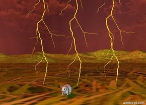 a  first lightning.the ground is grass.a second lightning is left of the first lightning.a third lightning is right of the first lightning.a mouse is in front of the first lightning.the sun is rust.