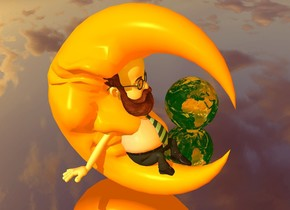 a  orange moon.a  man is -20 inch above the moon.the man is 15 inch tall.the ground is silver.in front of the man is a dim dark orange light.the camera light is dim dark orange.a very small  earth is 6 inch right of the moon. the ambient light is dim dark orange.