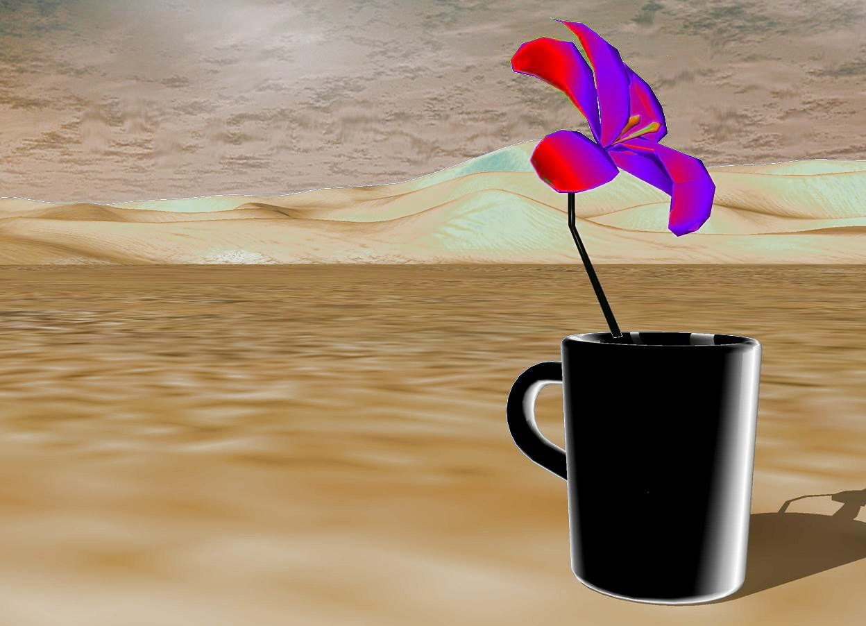 Input text: A flower is inside a mug.