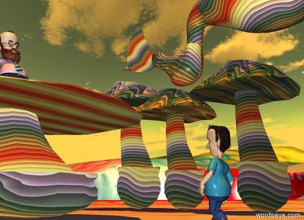 Input text: a 30 feet tall rainbow mushroom.a 33 feet tall rainbow mushroom is 1 inches right of the 30 feet tall rainbow mushroom.a 35 feet tall rainbow mushroom is 1 inches left of the 30 feet tall mushroom.a 20 feet tall rainbow mushroom is 20 feet  in front of the 30 feet tall mushroom.the 20 feet tall mushroom is 40 feet wide.the 20 feet tall mushroom is 40 feet deep.a 10 feet tall man is on the 20 feet tall mushroom.the man is facing right.a 9 feet tall boy is 20 feet right of the 20 feet tall mushroom.the boy is facing the man.[paint]ground.the sun's altitude is 90 degrees.a 10 feet tall rainbow butterfly is 1 feet above the 35 feet tall mushroom.the sun is orange. a 25 feet tall rainbow dodo is 25 feet right of and 20 feet in front of the butterfly. It leans 210 degrees to the front. It is 10 feet above the ground. it is facing east.
