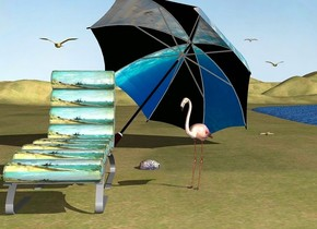 a beach chair is -8 feet left of and -2 feet in front of a huge [ocean] umbrella. it is on the ground. the umbrella leans 49 degrees to the back. the umbrella is -4.7 feet above the ground. it faces southwest. 1st seagull is 2 feet right of and 5 feet behind the umbrella. it is 6 feet above the ground. 2nd seagull is 2 feet above and 0.8 feet left of the first seagull. 3rd seagull is -0.3 feet left of and 4 feet behind the chair. it is 5.5 feet above the ground.  a flamingo is  2 feet right of the chair. it faces southwest. a large tan starfish is 6.5 feet right of and 15 feet behind the flamingo. a large [texture] clam is left of and 2 feet behind the flamingo. it is -0.2  feet above the ground. it faces southeast. the ground is [dirt]. the [water] lake is 1 feet right of the flamingo. it is -0.2 feet above the ground.the sun's azimuth is 320 degrees
