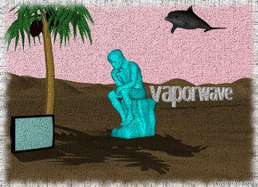 "a light cyan statue is standing. the sky is pink. the dolphin is 7 feet behind and 3 feet to the left of the statue. the dolphin is 7 feet in the air. a very small palm tree is 4 feet to the left of the statue. a small television is 3 feet in front of the statue. the television is facing east.  big ""vaporwave"" is 20 feet behind and 10 feet to the left of the palm tree. ""vaporwave"" is facing east."