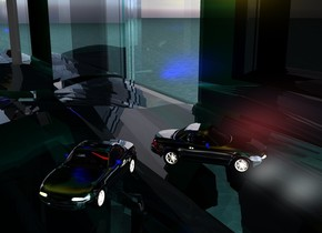 A tiny silver car is in an enormous turquoise glass fish tank. A 30 feet high silver wall is to the left of the fish tank. It is facing east. A 30 feet high silver wall is behind the fish tank. A 30 feet high silver wall is in front of the fish tank.  4 blue lights are -24 inches in front of and 10 inches above the car. 2 navy lights are 1 inch behind the car. 2 white lights are in the fish tank.  A silver wall is behind the car. 2 scarlet lights are in front of the car. 6 gold lights are 40 inches above and 8 inches in front of the car. A silver wall is on top of the fish tank. It is leaning 90 degrees to the back. The car is facing southeast. The ground is water. The azimuth of the sun is 120 degrees.