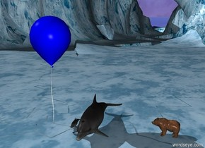 a huge dolphin with an enormous balloon is ten feet to the left of the grizzly bear which is facing the dolphin