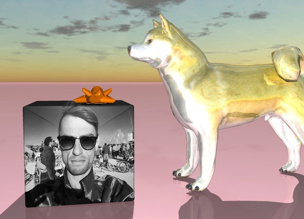 Input text: the gold dog. the [image-10031] present box is in front of the dog. the pink ground.