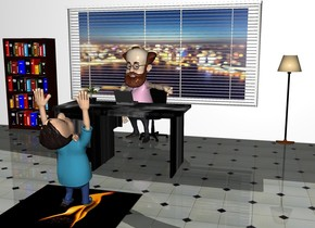 the ground is tile. a huge white wall. a giant [city] picture is .1 inch south of the wall. the picture is 2 feet off the ground. the picture is 12 feet long. the picture is 6 feet tall. a [black] desk is 4 feet south of the picture. the desk is on the ground. the desk is facing north. a blinds is .1 inch south of the picture. the blinds are 12 feet long. the blinds are 6 feet tall. a 3 foot tall swivel chair is 2 feet north of the desk. a computer is on the desk. a plant is 1 foot west of the computer. a bookcase is 1 foot west of the picture. the bookcase is on the ground. the bookcase is .1 inches south of the wall. a black lamp is 1 foot east of the picture. the lamp is on the ground. a big [fire] square is 2 feet south of the desk. the [fire] square is -.5 inches above the ground. a boy is -10 inch above the square. the boy is facing north. the boy is leaning 90 degrees to the north. a man is -8 inch north of the desk. the man is facing southwest.