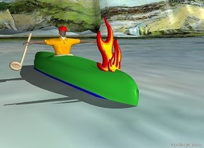 a 12 foot long  lime green canoe is -0.4 feet above the ground. it is upside down. a 1.5 feet wide bowl is -6.3 feet to the front and -1.8 feet to the right of the canoe. it is 0.8 feet above the ground. it is upside down. a 4.3 feet tall man is -2.9 feet above the bowl. he faces back. a tan half note is -0.5 feet right of the man and 0.4 feet above the ground. it leans left. it faces back. 1st large flame is -2 feet to the back of and -0.3 feet above the canoe. the ground is ocean. a small bicycle helmet is -0.2 feet above the man. 2nd flame is 0.2 feet behind the 1st flame. it leans 10 degrees to the right