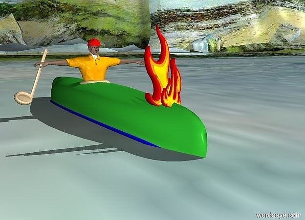 Input text: a 12 foot long  lime green canoe is -0.4 feet above the ground. it is upside down. a 1.5 feet wide bowl is -6.3 feet to the front and -1.8 feet to the right of the canoe. it is 0.8 feet above the ground. it is upside down. a 4.3 feet tall man is -2.9 feet above the bowl. he faces back. a tan half note is -0.5 feet right of the man and 0.4 feet above the ground. it leans left. it faces back. 1st large flame is -2 feet to the back of and -0.3 feet above the canoe. the ground is ocean. a small bicycle helmet is -0.2 feet above the man. 2nd flame is 0.2 feet behind the 1st flame. it leans 10 degrees to the right