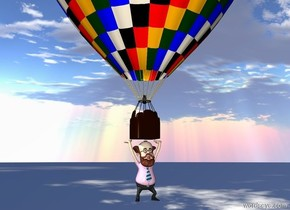 a man is under a balloon. the ground is invisible