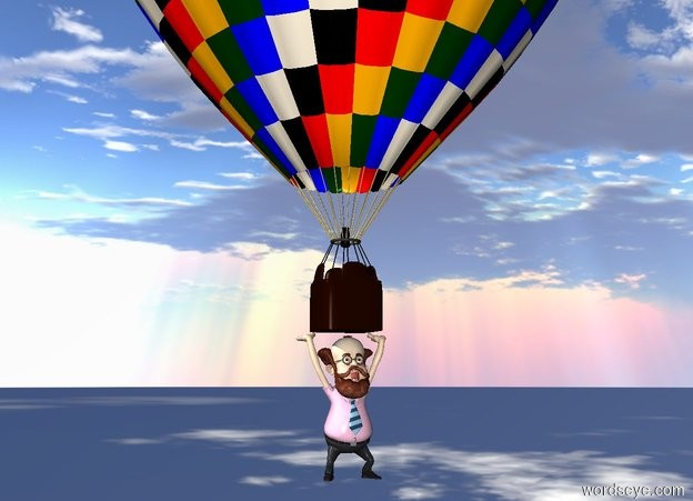 Input text: a man is under a balloon. the ground is invisible